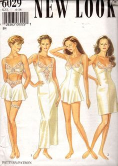 New Look 6029 Misses LINGERIE Pattern Sexy Lacy Full Slip Bra Top Garter and French Knickers Panties womens vintage sewing pattern by mbchills