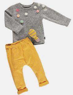 1x1 rib dusty yellow/powder YD stripe - Stoff & Stil