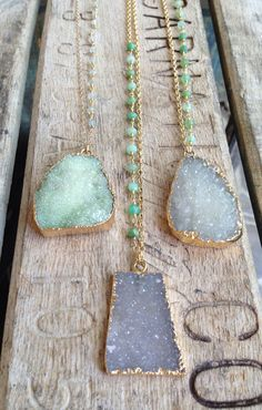Druzy Necklaces with Chrysoprase Stone Accents