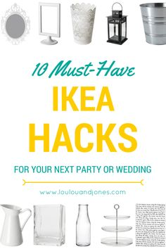 Here are 10 must have Ikea hacks + ideas to make your next event, wedding or party awesome. Ikea isn't just for homes- party decorations, products, decor. (home hacks) Ikea Wedding, Wedding Tips, Trendy Wedding, Wedding Table, Our Wedding, Wedding Planning, Party Wedding, Diy Wedding Hacks, Diy Wedding Decorations