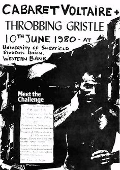 Poster for early industrial music show with Cabaret Voltaire, Throbbing Gristle