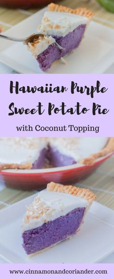 Try this Hawaiian recipe for purple sweet potato pie! The silky, yet rich filling is made of Okinawan sweet potatoes and coconut milk. The topping is a homemade hawaiian coconut custard called haupia (vegan luau food) Recipe For Purple Sweet Potatoes, Sweet Potato Recipes, Okinawan Sweet Potato Pie Recipe, Hawaiian Sweet Potatoes Recipe, Purple Potatoes, Coconut Flour Pie Crust, Coconut Custard, Coconut Milk, Hawaiian Desserts