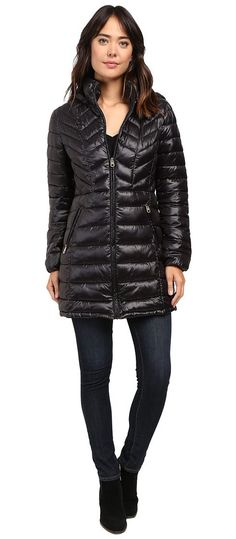 Jessica Simpson Long Packable Jacket with Hood (Black) Women's Coat - Jessica Simpson, Long Packable Jacket with Hood, JOHMP589-001, Apparel Top Coat, Coat, Top, Apparel, Clothes Clothing, Gift, - Fashion Ideas To Inspire