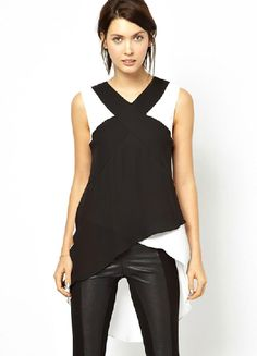 Black Contrast White Sleeveless Asymmetrical Chiffon Blouse - Fashion Clothing, Latest Street Fashion At Abaday.com