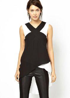 Black Contrast White Sleeveless Asymmetrical Chiffon Blouse US$33.00