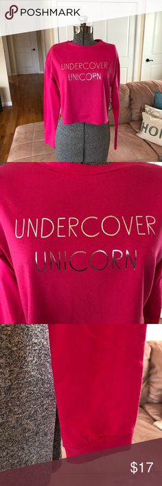 """NWT MEDIUM & LARGE """"UNDERCOVER UNICORN"""" PINK TOP Crop top style, see measurements! Thanks for visiting my closet! Tops Tees - Long Sleeve"""