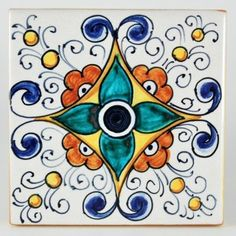 This ceramic wall and floor tile is entirely hand painted by Francesca Niccacci, an internationally renowned artist from Deruta. Her intricate geometric designs are a unique blend of sophisticated classic patterns and perfectly shaded colors. Niccacci's handmade tiles are available in different sizes and shapes to fulfill any and all conditions or constraints. Contact us with your ideas and projects: special orders are welcome.&nbsp…