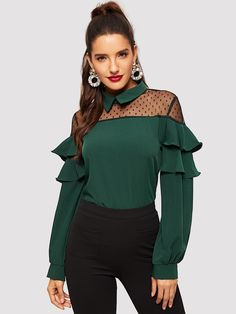 SHEIN offers Mesh Panel Ruffle Trim Blouse & more to fit your fashionable needs. Blouse Styles, Blouse Designs, Vetement Fashion, Casual Skirt Outfits, Spring Shirts, Jolie Photo, Dressy Tops, Mode Hijab, Green Fashion