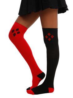 DC Comics Harley Quinn Over-The-Knee Socks, , hi-res Harley Quinn Cosplay, Joker And Harley Quinn, Dc Comics, Ropa Hip Hop, Over The Knee, Nananana Batman, Black Socks, Sexy Socks, Girls Socks