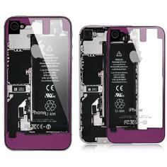 iPhone 4 / 4S Transparent Glass Back Cover - Purple on Black Frame