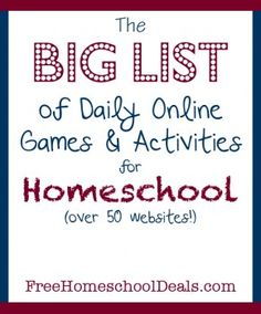 Daily online games and activities for homeschool.