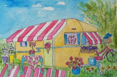 """Marcy Brennan (Born 1951), """"Vintage Dream Camper - It's Not Home without Flowers!"""""""