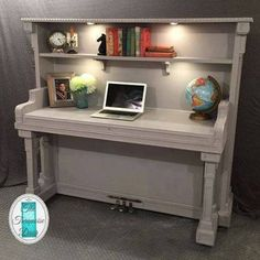 The Piano desk transformation is complete! The Piano desk transformation is complete! Refurbished Furniture, Repurposed Furniture, Furniture Makeover, Cool Furniture, Furniture Design, Reuse Furniture, Chair Makeover, Furniture Refinishing, Rustic Furniture