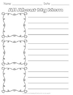 Freebie! All About My Mom writing activity. Students write 3 sentences about their mom and illustrate. Click here for more information.