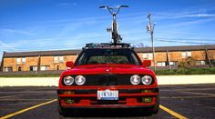 Red BMW E30 coupe