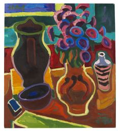 "lawrenceleemagnuson: "" Karl Schmidt-Rottluff (Germany Stillleben mit Astern-Strauss - Still life with Aster Bouquet oil on canvas 73 x 65 cm "" Karl Schmidt Rottluff, Lawrence Lee, Ernst Ludwig Kirchner, Blue Rider, Expressionist Artists, Art Walk, Paint Party, The Magicians, Graphic Illustration"