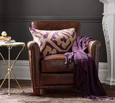 Irving Leather Armchair with Nailheads #potterybarn One or two depending on couch