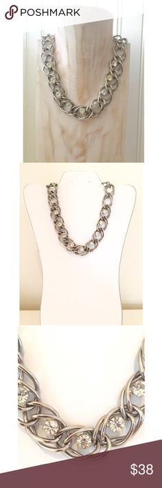 """Vintage 80's Silver Tone Link Rhinestone Choker Vintage (circa '86-'88) rhinestone & silver link choker necklace. Purchased @a boutique way back when! Approx. 16-3/4"""" L. Embedded w/in the large silver-tone open links are 9 sparkly✨ faceted rhinestones. Links are approximately 5/8"""" in diameter & rhinestones are 1/4""""W. Secure box clasp closure. Excellent condition! Nice weight to choker. They really made good quality costume jewelry in the 80s! Hard to let this go!😞 You'll definitely be…"""