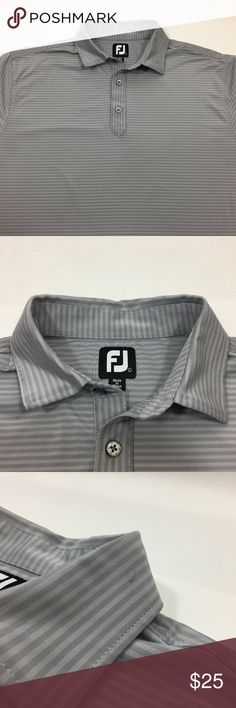 "FootJoy Mens Golf Shirt Polo L Short Sleeve Gray FootJoy Mens Golf Shirt Polo L Short Sleeve Gray Stretch Small pen mark on left side of collar 92% Polyester 8% Spandex Shoulder to shoulder - 20"" Armpit to armpit - 24"" Length - 30"" Please take some time to view the other items in my store. All item condition ratings are done in honest good faith. FootJoy Shirts Polos"