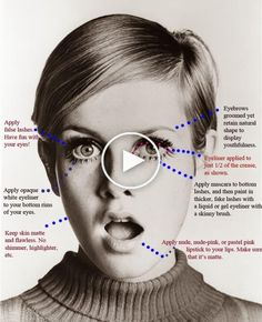 The ultimate guide to all things makeup, these Tues 1960 makeup trends have you reminiscing big eyes, pale lips, and lots of powder. 60s Makeup And Hair, 1960s Makeup, Eye Makeup, Iconic Makeup, Pale Lips, Eyebrow Grooming, White Eyeliner, Natural Wedding Makeup, How To Apply Mascara
