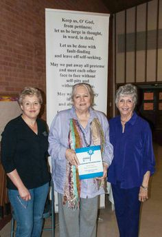 GFWC General Federation of Woman's Clubs  Helen Lamberth, GFWC Texas Magnolia District President, Nancy Brandli, Liberty Woman's Club President and Sandra Sterling, Liberty Woman's Club, Liberty, Texas. Pinwheels for Prevention award from GFWC national convention and a banner of the Collect for Club Women