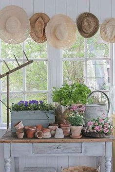 Amazing Shed Plans - Vibeke conception - Prenons le temps Now You Can Build ANY Shed In A Weekend Even If You've Zero Woodworking Experience! Start building amazing sheds the easier way with a collection of shed plans! Potting Tables, Vibeke Design, Sunroom Decorating, She Sheds, Potting Sheds, Shed Storage, French Country Style, French Country Gardens, French Country Porch