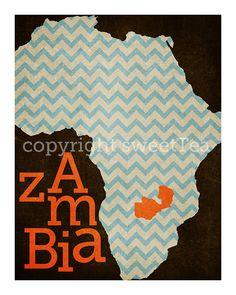 zambia an art print on metallic paper by SweetTeaShoppe on Etsy, $12.00