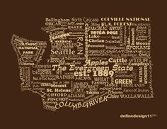 Washington State Print  Word Art  Typography The Evergreen State Washington State Pride. $12.00, via Etsy.