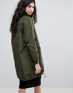 Adidas Originals Long Bomber Jacket In Khaki