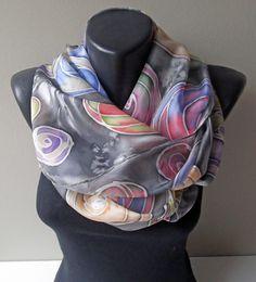Crazy Cookies Handmade silk scarf ART.313 by MarijanaSilk on Etsy