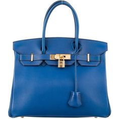 Pre-owned Herm?s Swift Birkin 30 ($9,800) ❤ liked on Polyvore featuring bags, handbags, blue, zip lock bags, real leather purses, hermes handbags, leather man bags and blue handbags