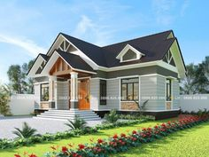 Simple and Elegant Small House Design With 3 Bedrooms and 2 Bathrooms - Ulric Home Modern Bungalow House Design, House Roof Design, Two Story House Design, Simple House Design, Bungalow Designs, Single Storey House Plans, One Storey House, Small Beach Houses, House Construction Plan