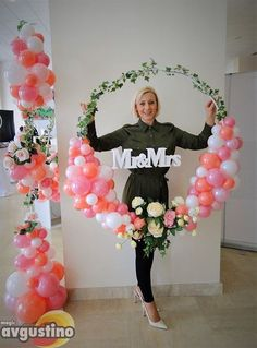 Fun balloon decor idea for a wedding or engagement party! Decoration For Home is part of Balloon decorations - Fun balloon decor idea for a wedding or engagement party! Fun balloon decor idea for a wedding or en Balloon Wreath, Balloon Arch, Balloon Ideas, Balloon Flowers, Engagement Decorations, Wedding Decorations, Tent Decorations, Deco Ballon, Decoration Evenementielle