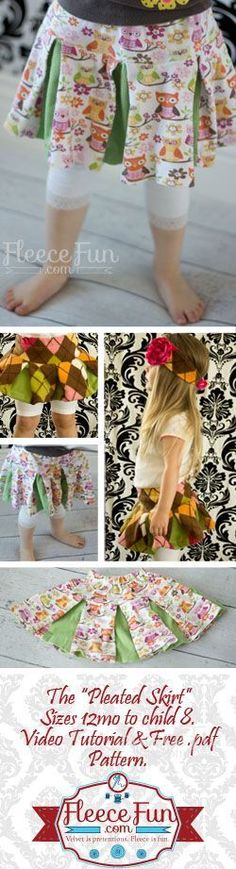 You can make a cute pleated skirt with this easy free pattern and video tutorial.