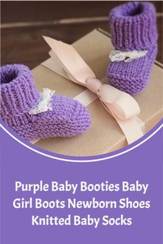 Purple baby booties are made of very soft acrylic yarn. Baby girl boots measure 10cm (3,9''). Our knitted baby socks will be a great birth gift! Your little one fall in love with the newborn shoes. Knit Baby Booties, Knitted Baby, Baby Knitting, Newborn Shoes, Newborn Girl Outfits, Baby Girl Boots, Cute Baby Girl, Newborn Fashion, Birth Gift