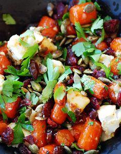 Spicy carrots with chevre (carrots, red chilli, minced ginger, cumin, salt, olive oil, honey, chevre, toasted pumpkin seeds, dried cranberries, 3 tbs parsley)