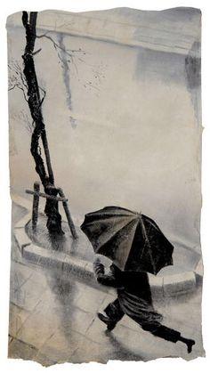 """""""Typhoon"""" (2001) - Painting by Daniel Kelly (American artist based in Kyoto, Japan - b. 1947)"""