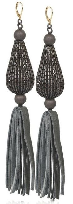 ACB's suede tassel earrings are bronze perforated metal drop earrings with an anthracite suede leather tassel