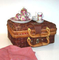 Vintage Miniature Tea set Vintage wicker by jewelryandthings2, $39.00