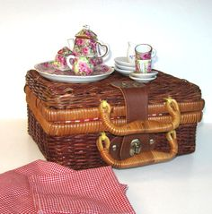 Vintage Miniature Tea set Vintage wicker by jewelryandthings2, $39.00
