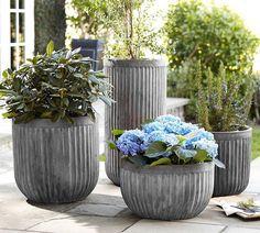 Concrete Fluted Planters | Pottery Barn AU