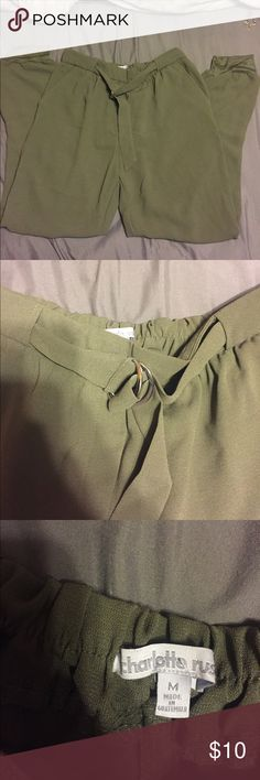 Parachute like pants Olive green, very soft cloth at bottom that hug your ankle, flowy pants, not tight. Charlotte Russe Pants