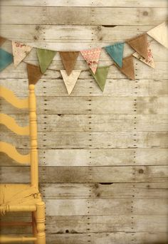 Vintage Double-Sided Fabric Burlap Twine Bunting Flag Banner (5 Ft.)  Vintage Pastels
