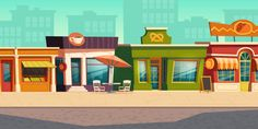Urban street landscape with small shop, . Cartoon Background, Animation Background, Vector Background, Episode Interactive Backgrounds, Episode Backgrounds, France City, Anime Scenery Wallpaper, Urban Landscape, Stop Motion