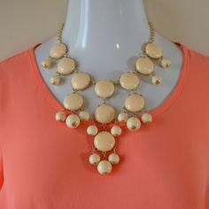 Cream Bubble Necklace Cream bubble necklace. Center bubble has a black speck, as shown in closeup on last picture. Necklace priced accordingly. Not interested in trades. Toffs + Tufts Jewelry Necklaces