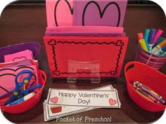 Valentine's Day create a valentine station with writing paper, hearts to cut out, valentine's word cards & phases, crayons, markers, and glue! Pocket of Preschool (Valentins Day Kindergarten)