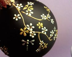 Hand Painted Christmas Ornament, Decorative Ornament, Hand Painted Ornament, Cherry Blossom Ornament by TheGroovyCatBoutique on Etsy Christmas Balls Decorations, Painted Christmas Ornaments, Hand Painted Ornaments, Handmade Ornaments, Christmas Baubles, Christmas Candy, Holiday Ornaments, Christmas Crafts, Glitter Ornaments