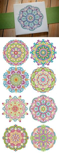 Our Marvelous Mandalas design set is made up of 8 exquisite, bright and colorful. - Our Marvelous Mandalas design set is made up of 8 exquisite, bright and colorful mandala designs! Mandala Design, Mandala Art, Mandala Drawing, Embroidery Flowers Pattern, Embroidery Fabric, Hand Embroidery Designs, Flower Patterns, Free Adult Coloring Pages, Mandala Coloring Pages
