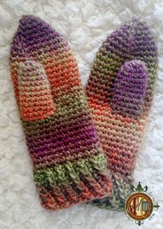 Twisted Mittens for the Crochet Mitten Drive  Mad Mad me  - Free Crochet Pattern