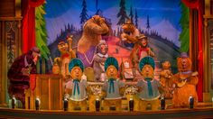 A band of musical hillbilly bears featuring 3 baby bears onstage at Country Bear Jamboree